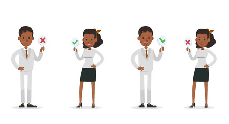 Set of Businessman and Businesswoman character vector design. Presentation in various action with emotions and working. no56