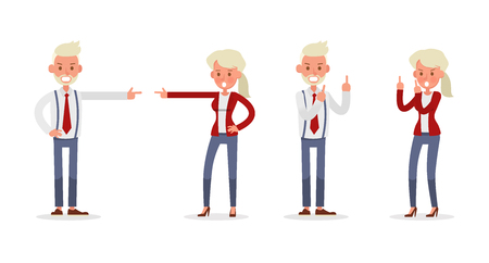 Set of Businessman and Businesswoman character vector design. Presentation in various action with emotions and working. no68 Ilustração