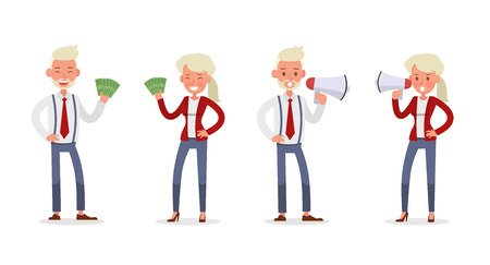 Set of Businessman and Businesswoman character vector design. Presentation in various action with emotions and working. no91
