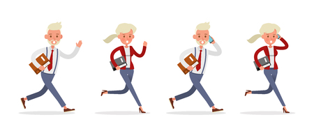 Set of Businessman and Businesswoman character vector design. Presentation in various action with emotions and working. no96 Ilustração