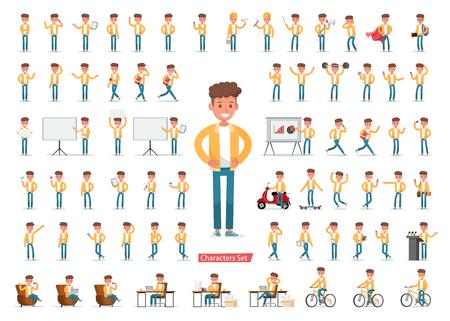 Set di disegno vettoriale di carattere maschile. Presentazione in varie azioni con emozioni, corsa, piedi, camminata e lavoro. no5