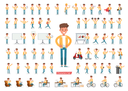 Set of men character vector design. Presentation in various action with emotions, running, standing, walking and working. no5