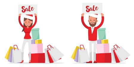 Shopping men and women characters vector design. Christmas shopping. no13