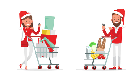 Shopping men and women characters vector design. Christmas shopping. no2