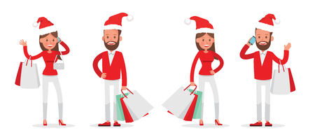 Shopping men and women characters vector design. Christmas shopping. no3