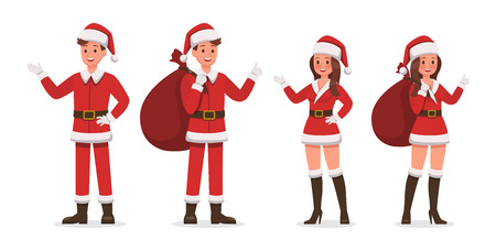 Santa Claus man and woman character vector design for christmas. Presentation in various action. no4