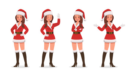 Santa Claus woman character vector design for christmas. Presentation in various action. Ilustração