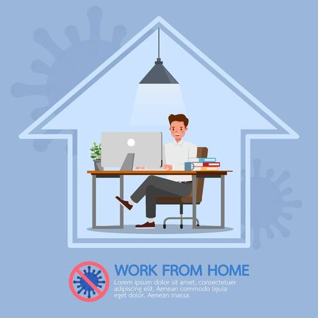 Man working from home, stop coronavirus, social distancing concept character vector design