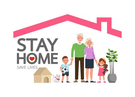 Stay home during the coronavirus epidemic. Social distancing, self-isolation concept. Family in self quarantine, protection from virus. Character vector design. Ilustración de vector