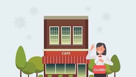 The effect of the coronavirus pandemic in global business. Store closed due to virus quarantine.