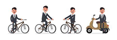 Businessman doing different gestures. Character vector design. no18
