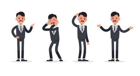 Businessman doing different gestures. Character vector design. no20 Иллюстрация
