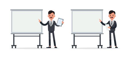 Businessman doing different gestures. Character vector design. no34