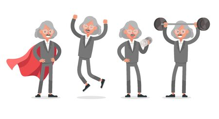 Businessman doing different gestures. Character vector design. Иллюстрация