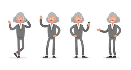 Businessman doing different gestures. Character vector design. no3 Иллюстрация