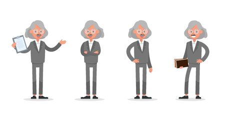 Businessman doing different gestures. Character vector design. no4 Иллюстрация