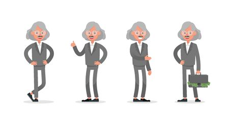Businessman doing different gestures. Character vector design. no5 Иллюстрация