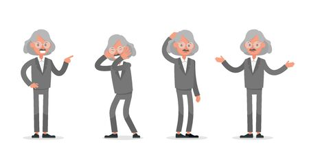 Businessman doing different gestures. Character vector design. no6