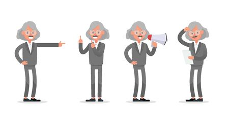 Businessman doing different gestures. Character vector design. no7 Иллюстрация