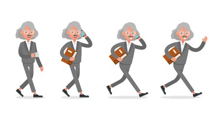 Businessman doing different gestures. Character vector design. no9 Иллюстрация