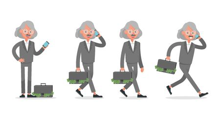 Businessman doing different gestures. Character vector design. no10