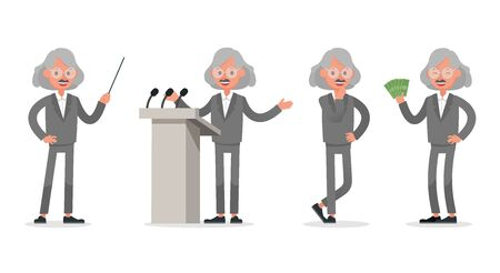Businessman doing different gestures. Character vector design. no12