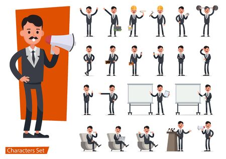 Set of Businessman character vector design doing different gestures. Presentation in various action with emotions, running, standing, walking and working. no4