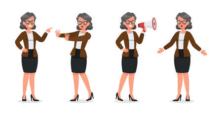 set of business woman working in office character vector design no4