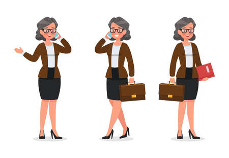 set of business woman working in office character vector design no2