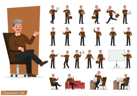 Set of Businessman character vector design doing different gestures. Presentation in various action with emotions, running, standing, walking and working. no7