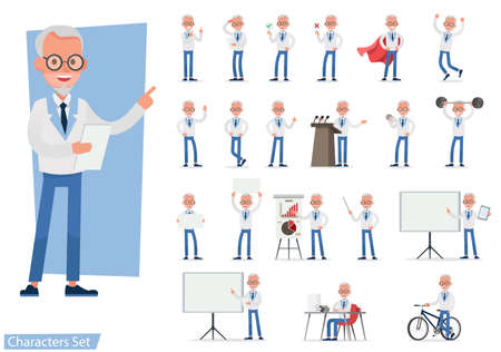Set of Businessman character vector design doing different gestures. Presentation in various action with emotions, running, standing, walking and working. no8