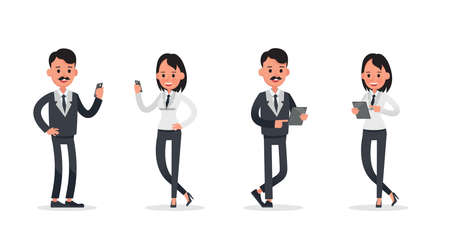 business people poses action character vector design no12