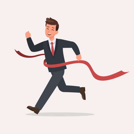 Businessman run to the finish line character vector design