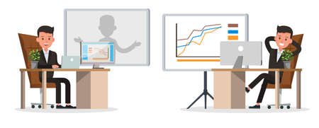 business people character vector design. Presentation in various action and working. no41