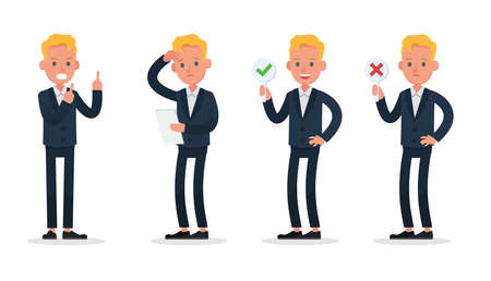 businessman character vector design. Presentation in various action with emotions, standing, walking and working. no26