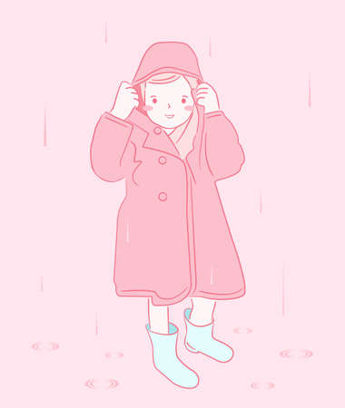 Kid girl in the rain hand drawing character vector design