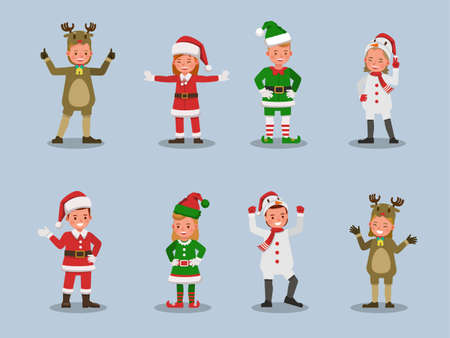 Set of kids boy and girl wearing Christmas costumes character vector design. Presentation in various action  emotions. 版權商用圖片 - 159766531