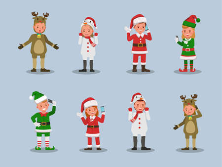 Set of kids boy and girl wearing Christmas costumes character vector design. Presentation in various action  emotions. 版權商用圖片 - 159766534