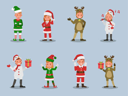 Set of kids boy and girl wearing Christmas costumes character vector design. Presentation in various action  emotions. 版權商用圖片 - 159766539