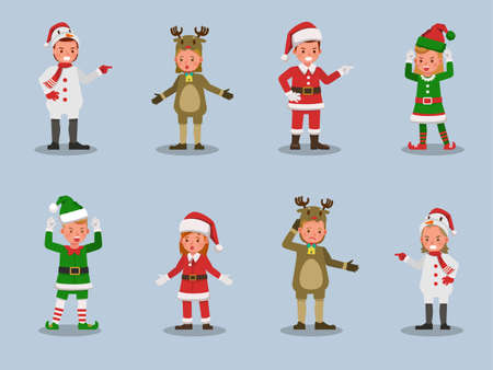 Set of kids boy and girl wearing Christmas costumes character vector design. Presentation in various action  emotions.