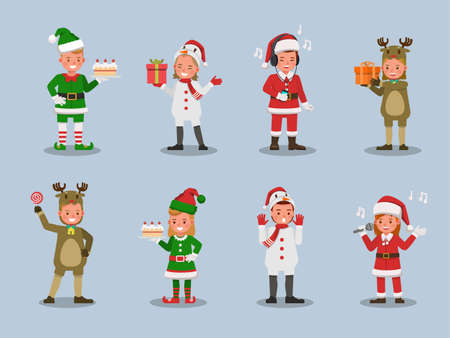 Set of kids boy and girl wearing Christmas costumes character vector design. Presentation in various action  emotions. 版權商用圖片 - 159766541