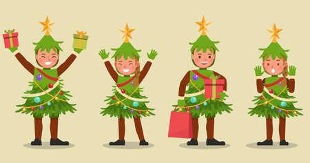 Set of kids boy and girl wearing Christmas tree costumes character vector design. Presentation in various action  emotions.
