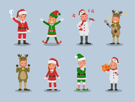 Set of kids boy and girl wearing Christmas costumes character vector design. Presentation in various action  emotions. 版權商用圖片 - 159766543