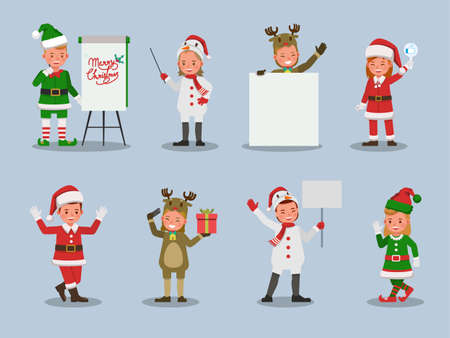 Set of kids boy and girl wearing Christmas costumes character vector design. Presentation in various action  emotions. 版權商用圖片 - 159766594