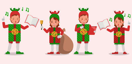 Set of kids boy and girl wearing christmas gift box costumes character vector design. Presentation in various action  emotions. 版權商用圖片 - 159766596