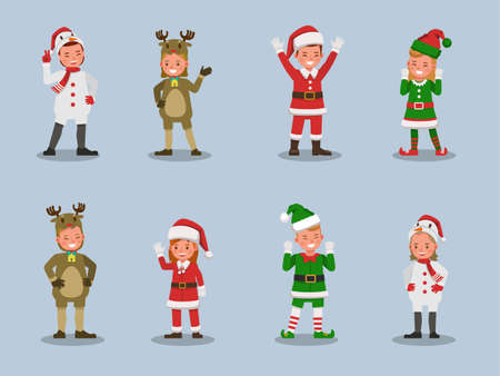 Set of kids boy and girl wearing Christmas costumes character vector design. Presentation in various action with emotions. 向量圖像