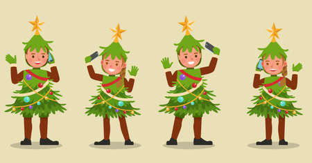 Set of kids boy and girl wearing Christmas tree costumes character vector design. Presentation in various action with emotions. no7