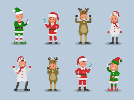 Set of kids boy and girl wearing Christmas costumes character vector design. Presentation in various action  emotions. 版權商用圖片 - 159766600