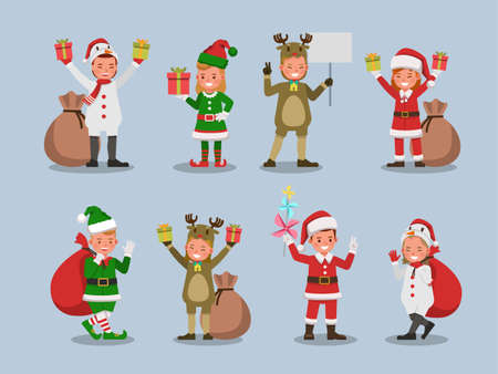 Set of kids boy and girl wearing Christmas costumes character vector design. Presentation in various action with emotions. no28