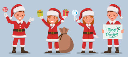 Set of kids wearing Christmas costumes character vector design. Presentation in various action with emotions. no12